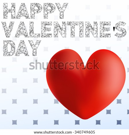 Volume bright red heart on a vintage postcard Valentine's day greeting on white-blue background. All isolated. - stock vector