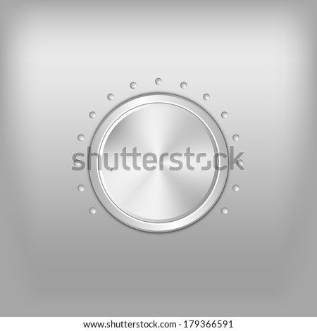 Volume button - music knob. Vector metal texture - chrome.