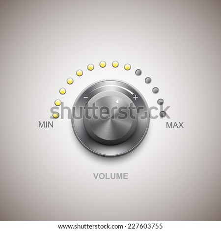Volume button (music knob) with metal texture - stock vector