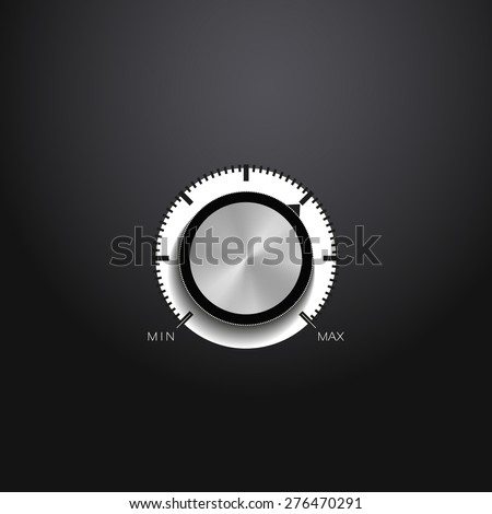 Volume button (music knob) with metal texture (steel, chrome), on black background. Vector illustration - stock vector