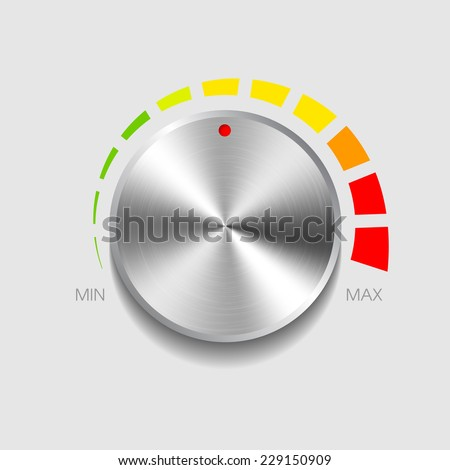 Volume button with metal texture. Vector illustration - stock vector