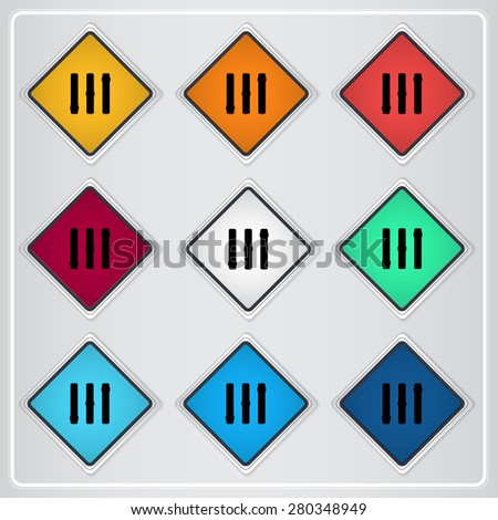 Volume control. Level icon. Flat design style. Made vector illustration. Emblem or label with shadow. - stock vector