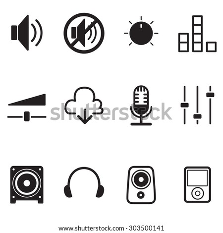 Volume controller & Speaker technology icon Vector Illustration set