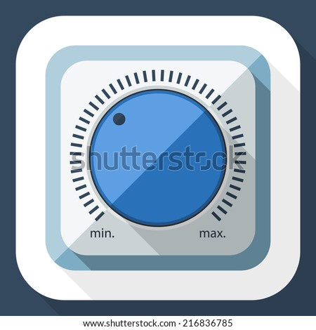 Volume knob icon with long shadow - stock vector
