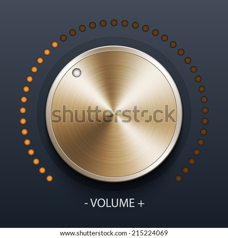 Volume knob with gold texture, stock vector - stock vector