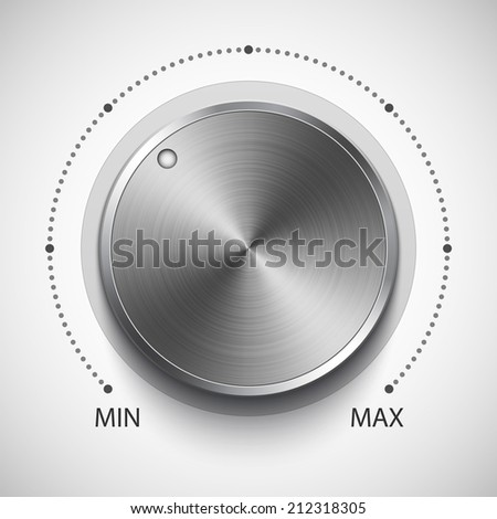 Volume knob with metal texture, realistic vector illustration - stock vector