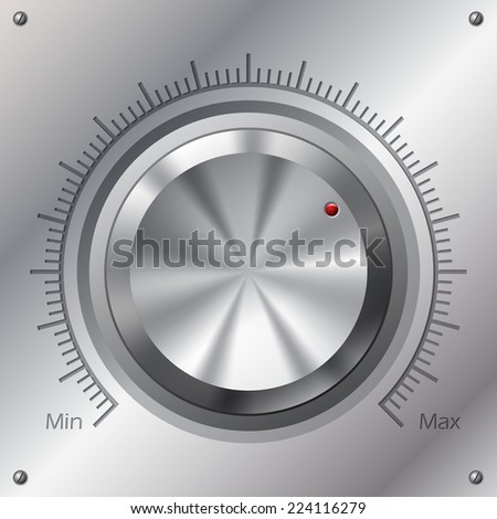 Volume knob with min max levels on steel plate  - stock vector