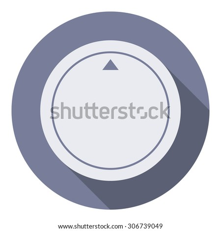Volume music control knob icon, modern minimal flat design style. Vector illustration with long shadow, user interface round button - stock vector
