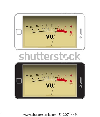Volume unit meter in cellphone, flat design, stock vector