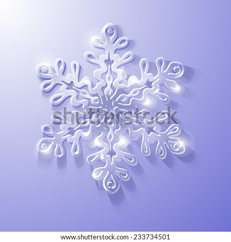 Volumetric glass snowflake on a cold purple - stock vector