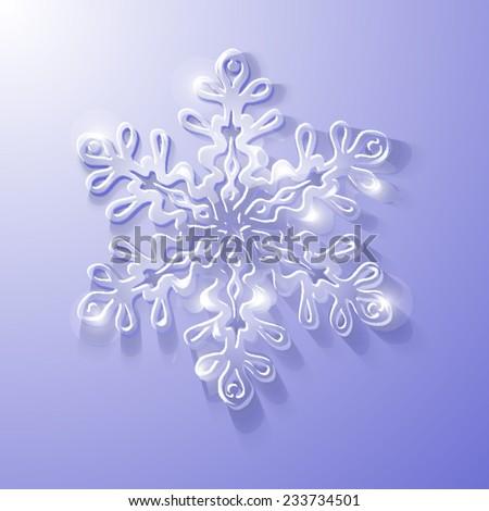 Volumetric glass snowflake on a cold purple - stock vector