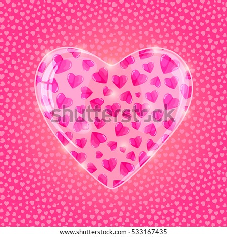 Volumetric Heart On Shiny Pattern. Vector Love Concept Illustration.