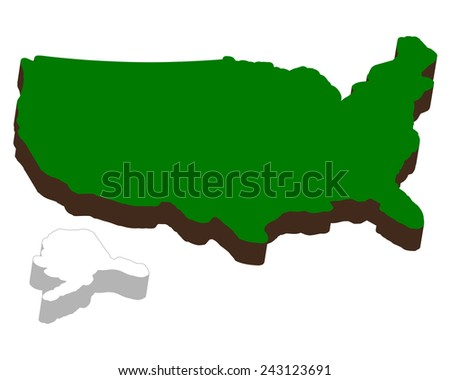 volumetric map of America on a white background  - stock vector
