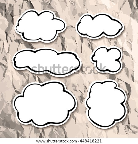 Volumetric vector clouds with space for text - stock vector
