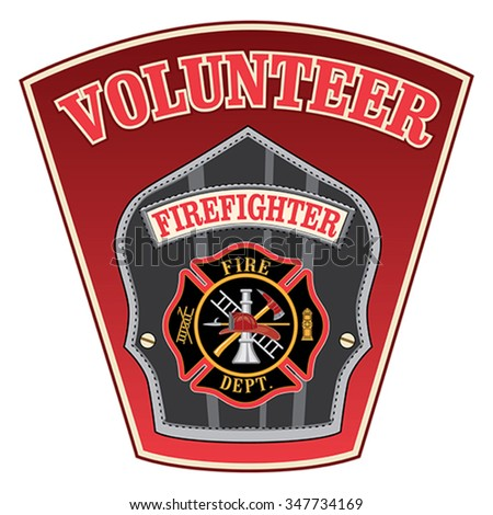 Volunteer Firefighter Shield is an illustration of a firefighter�s or fireman�s badge with a Maltese cross and firefighter tools logo inside of a shield shape.