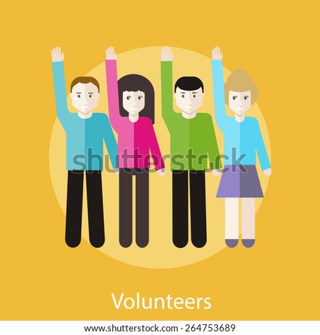 Volunteer group raising hands against. Concept in flat design style. Can be used for web banners, marketing and promotional materials, presentation templates - stock vector
