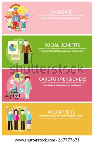 Volunteer group raising hands against. Grandpa with documents of social benefits. Nurse taking care of senior patient in wheelchair. Kids playing construction in the room banners - stock vector