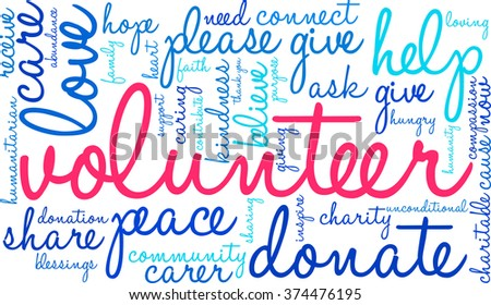 Volunteer word cloud on a white background. - stock vector