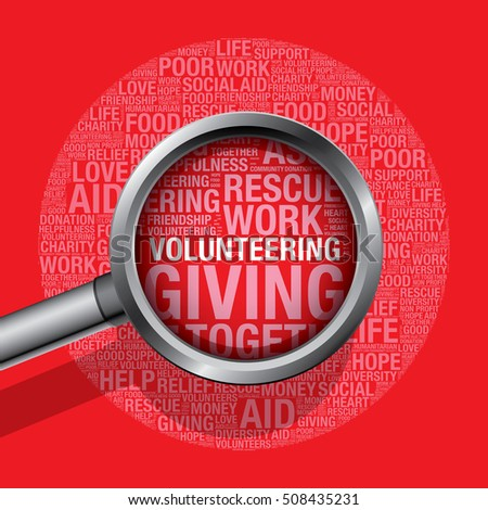 Volunteering in charity word cloud help concept, vector illustration