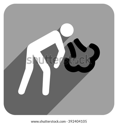 Vomiting Person long shadow vector icon. Style is a flat vomiting person iconic symbol on a gray square background. - stock vector