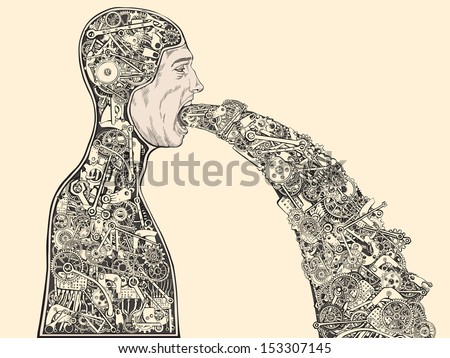 Vomiting Robot Pukes for science. - stock vector