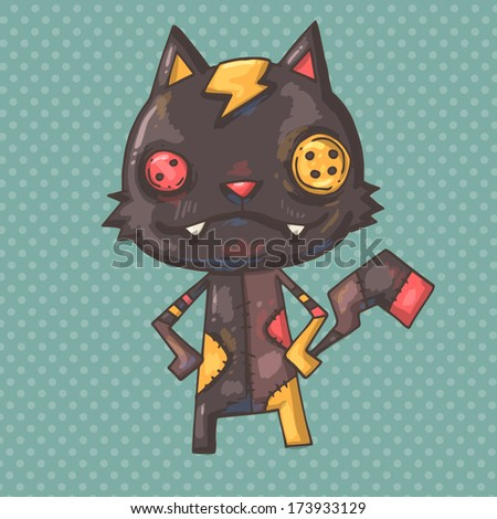 voodoo cat - stock vector