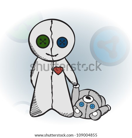 Voodoo doll holding a teddy bear's paw - stock vector