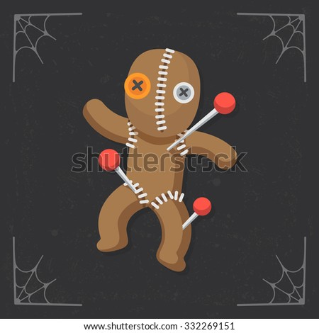 Voodoo Doll icon. Vector halloween flat illustration isolated on black stylized background - stock vector