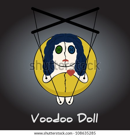 Voodoo doll is a puppet - stock vector