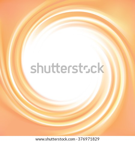 Vortex ripple backdrop with space for text. Beautiful curvy fluid surface gentle terracotta color. Circle soft mix of pure fresh sweet carrot, melon, pumpkin, apricot and lemon dessert syrup - stock vector