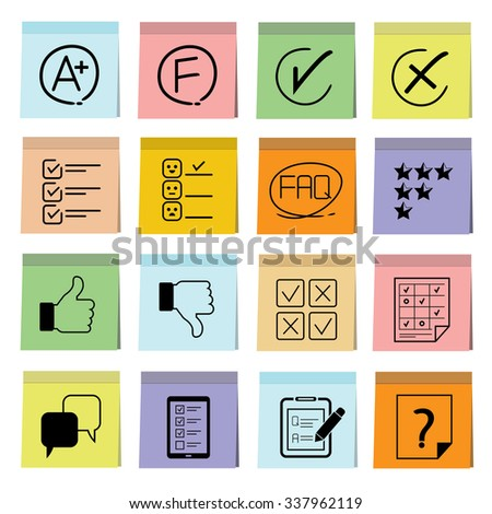 vote and questionnaire icons in sticky note paper - stock vector