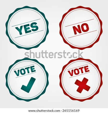 Vote Badges and check mark signs, white background - stock vector