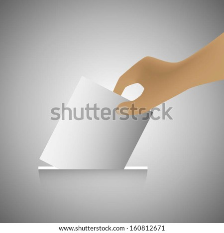Vote, ballot with box, hand putting a voting. Vector illustration. - stock vector
