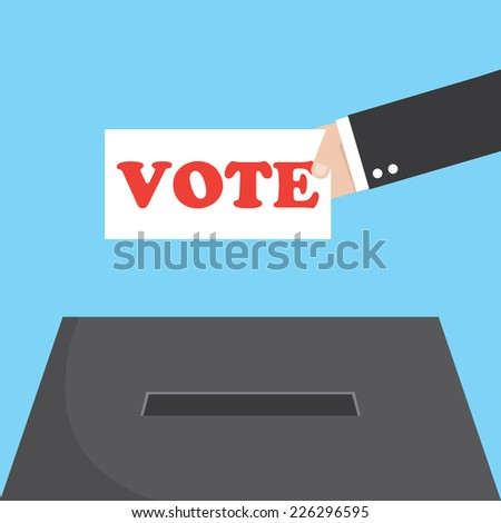 Vote ballot with box. Vector illustration. - stock vector