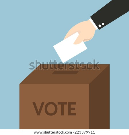 Vote ballot with box. Vector illustration, flat design - stock vector