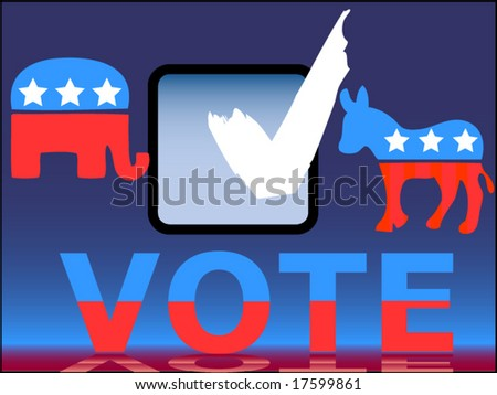 vote check box with party symbols - stock vector