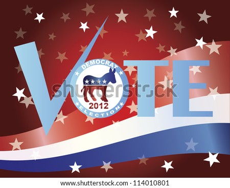 Vote Check Mark Text 2012 Democrat with US Flag Background Vector Illustration