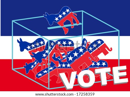 Vote Democratic over a blue, white and red background - stock vector