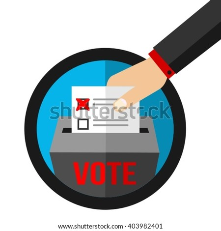 Vote - Democratic Voting Symbol - Voter's Hand Over Ballot Box Flat Vector Illustration - stock vector