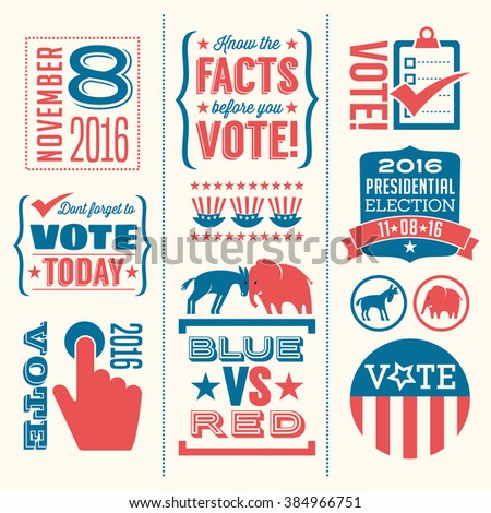 vote design elements 2016 election united states - stock vector