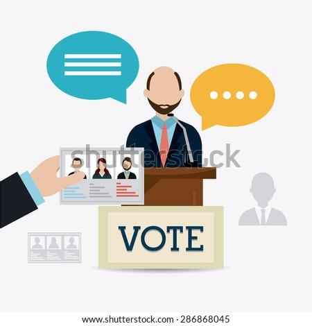 Vote design over white background, vector illustration. - stock vector