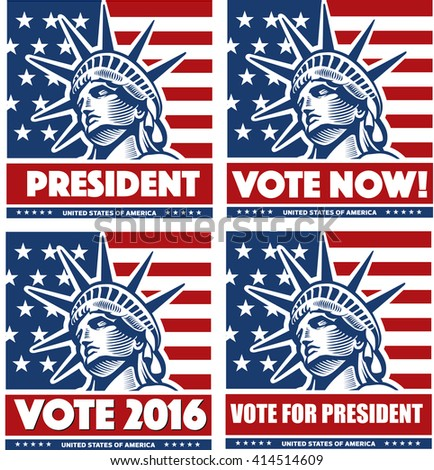 vote for president USA with statue of liberty, New York   - stock vector
