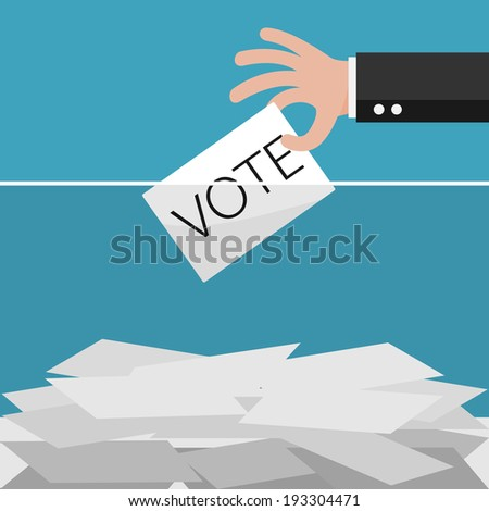 Vote, Hand holding ballot in Ballot boxes. Vector illustration. - stock vector