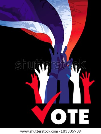 vote. Hands of many Thai people expressing their decision. vector - stock vector
