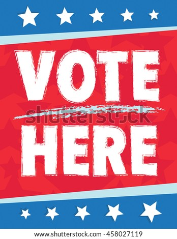 Vote here American political poster with stars