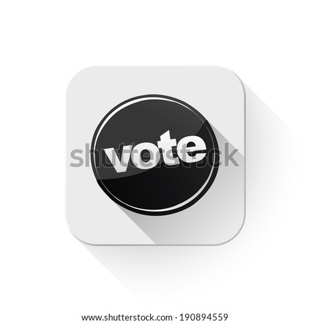 vote icon With long shadow over app button - stock vector