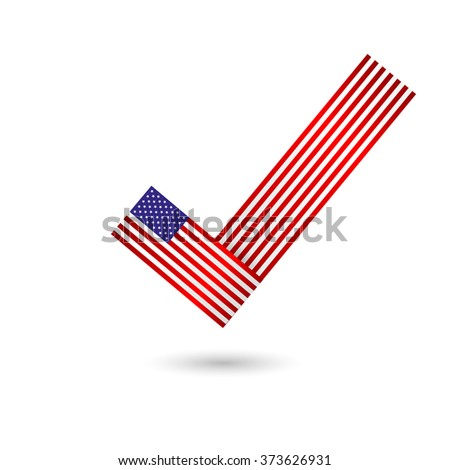 Vote in Elections. icon. Vector illustration. USA flag.  isolated on white background. ballot box. voting box. vote button.. poll icon. - stock vector