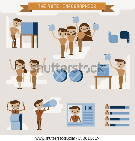 Vote info graphic and character - stock vector