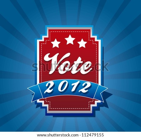 vote label over blue background. vector illustration - stock vector