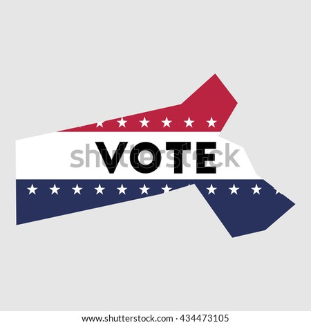 Vote Massachusetts State Map Outline Patriotic Design Element To Encourage Voting In Presidential Election 2016